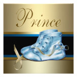 Sweet Baby Blue and Gold Prince Baby Shower Personalised Announcements