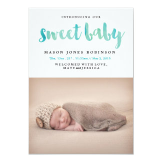 SWEET BABY Blue Watercolor Birth Announcement