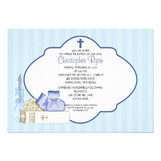 Sweet Baby Boy Baptism Inviation Custom Announcement