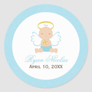 Sweet Baby Boy Baptism Classic Round Sticker