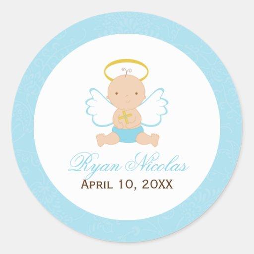 Sweet Baby Boy Baptism Stickers