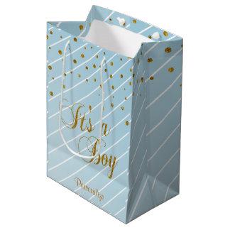 Sweet Baby Boy Blue and Gold Confetti Medium Gift Bag