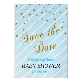 Sweet Baby Boy Blue & Gold Confetti | Baby Shower Magnetic Invitations