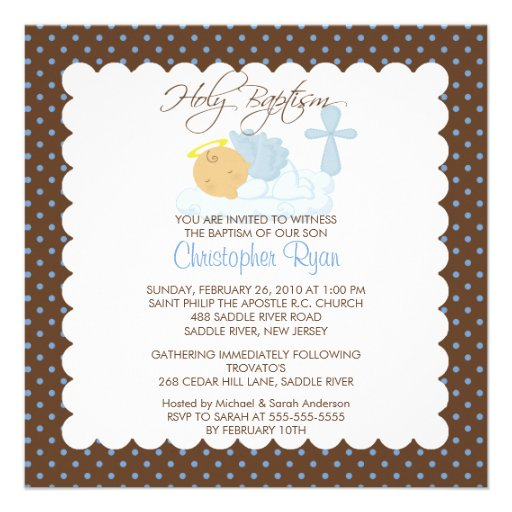 Sweet Baby Boy & Cross Holy Baptism Inviation Personalized Announcements