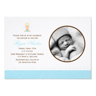 Sweet Baby Boy Photo Baptism 5x7 Paper Invitation Card