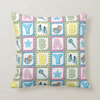 Sweet Baby Boy Squares Throw Pillows