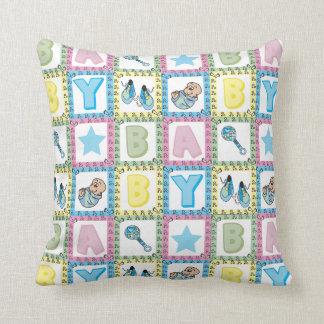Sweet Baby Boy Squares Throw Pillow