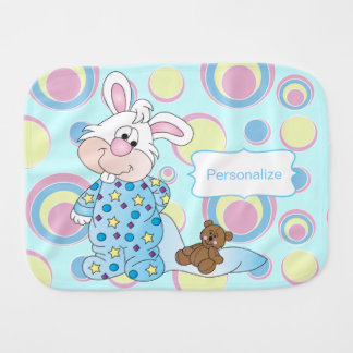 Sweet Baby Bunny in Blue Dots Burp Cloth