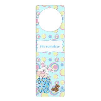 Sweet Baby Bunny in Blue Dots Door Hanger