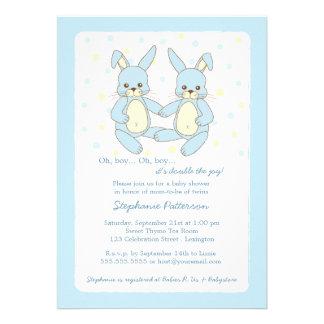 Sweet Baby Bunny Twin Boys Baby Shower Invitation