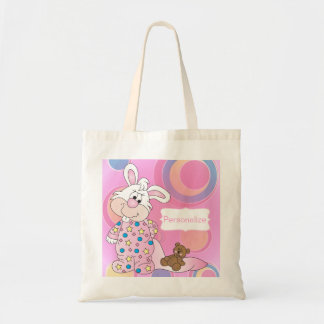 Sweet Baby Bunny with Pink Dots Tote Bag