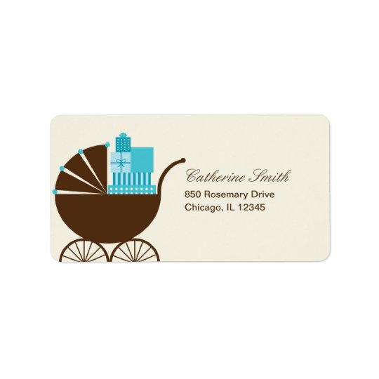 Sweet Baby Carriage Address Label - Blue