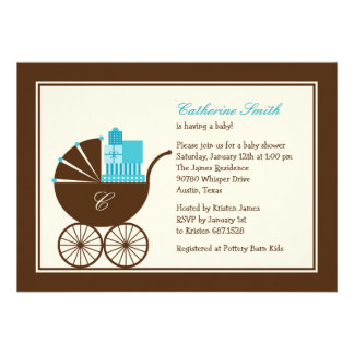 Sweet Baby Carriage Baby Shower Invitation - Blue Announcement
