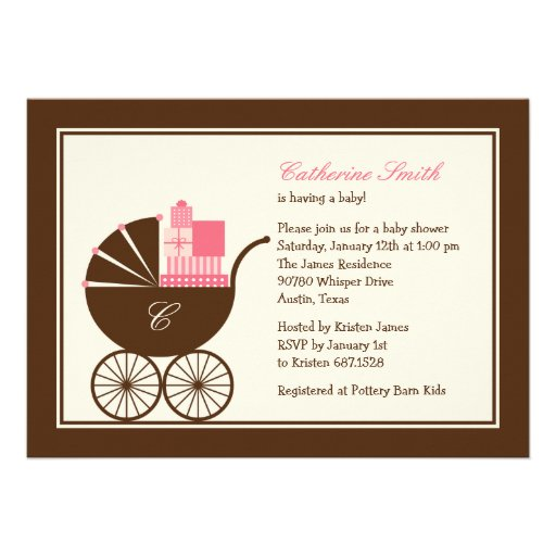 Sweet Baby Carriage Baby Shower Invitation - Pink Personalized Announcement