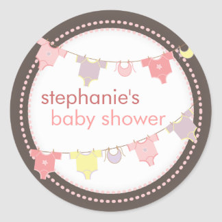Sweet Baby Clothes LIne Girl Baby Shower Sticker