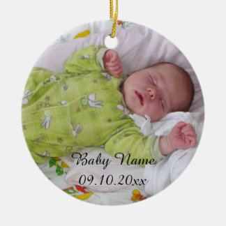 Sweet baby Create-Your-Own-Photo-Name Round Ceramic Decoration