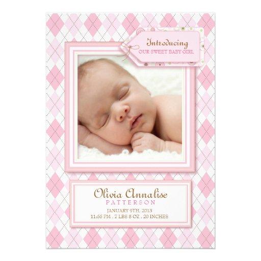 Sweet Baby Girl Argyle Photo Birth Announcement