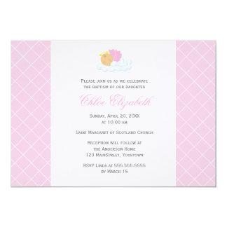 Sweet Baby Girl Baptism 13 Cm X 18 Cm Invitation Card