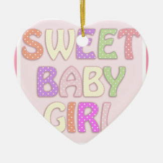 Sweet Baby Girl Ceramic Heart Decoration