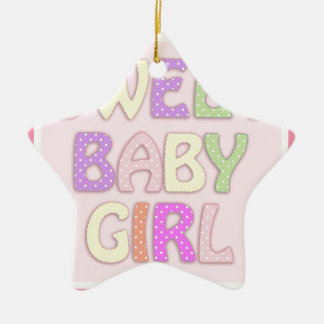 Sweet Baby Girl Ceramic Star Decoration