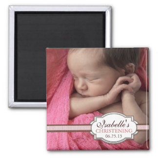 Sweet Baby Girl Christening Brown & Pink Photo Square Magnet