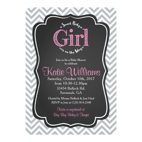 Sweet Baby Girl Pink Chalk Baby Shower Invitation