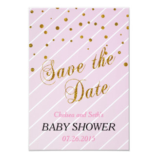 Sweet Baby Girl Pink & Gold Confetti | Baby Shower 9 Cm X 13 Cm Invitation Card