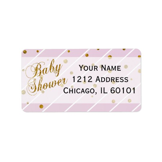 Sweet Baby Girl Pink & Gold Confetti | Baby Shower Address Label