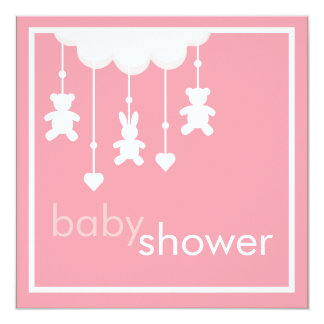 Sweet Baby Girl Pink Mobile Baby Shower Invitation