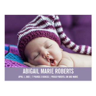 Sweet Baby Girl Purple Photo Birth Announcement Postcard