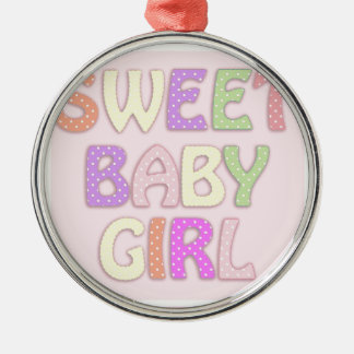 Sweet Baby Girl Silver-Colored Round Decoration