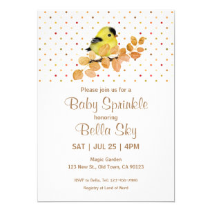 Sweet Baby Goldfinch Baby Sprinkle Cards