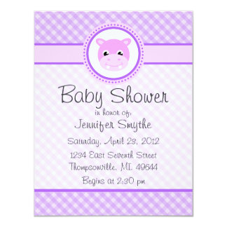 Sweet Baby Hippo Purple Baby Shower Invitations