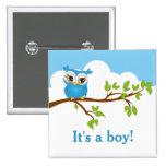 Sweet Baby Owl Boy Baby Shower Button Button