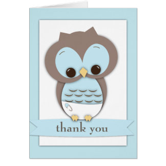 Sweet Baby Owl Boy Thank You Card | Blue