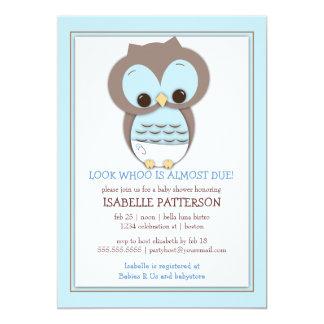 Sweet Baby Owl Boy Whoo Baby Shower Invitation
