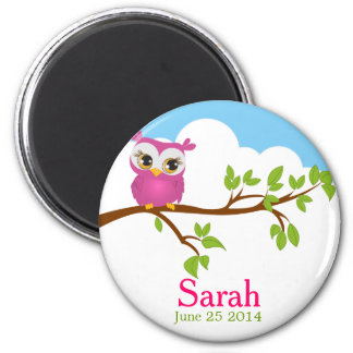 Sweet Baby Owl Girl Baby Shower Magnet