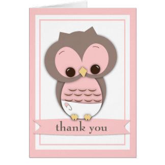 Sweet Baby Owl Girl Thank You Card