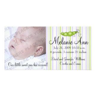 Sweet Baby Pea Photo Personalised Photo Card