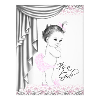 Sweet Baby Pink and Gray Baby Girl Shower Custom Announcements