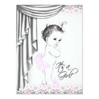 """Sweet Baby Pink and Gray Baby Girl Shower 6.5"""" X 8.75"""" Invitation Card"""