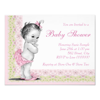 Sweet Baby Pink and Green Baby Shower 11 Cm X 14 Cm Invitation Card