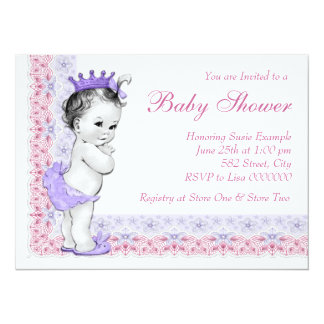 """Sweet Baby Pink and Purple Baby Shower 5.5"""" X 7.5"""" Invitation Card"""