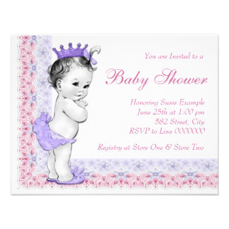 Sweet Baby Pink and Purple Baby Shower Invitations