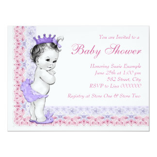 """Sweet Baby Pink and Purple Baby Shower 6.5"""" X 8.75"""" Invitation Card"""