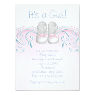 Sweet Baby Shoes Pink and Blue Baby Shower 17 Cm X 22 Cm Invitation Card
