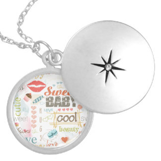 Sweet Baby Text Design Your Color  ID237 Round Locket Necklace
