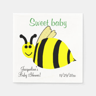 Sweet Baby Yellow Bumble Bee Baby Shower Disposable Napkin