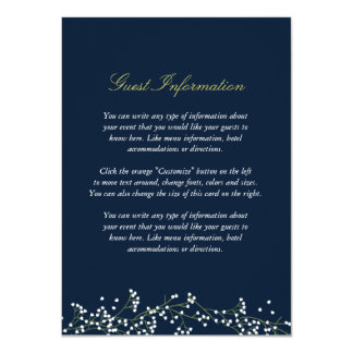 Sweet Baby's Breath Wedding Insert Card 11 Cm X 16 Cm Invitation Card
