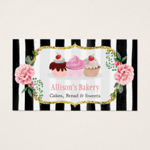 Cake business cards business card printing zazzle sweet bakery cupcakes gold pink floral striped business card reheart Images